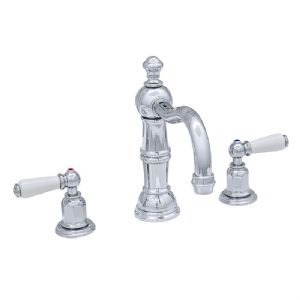 3720 Perrin & Rowe Three Hole Basin Mixer Tap With Country Spout Lever